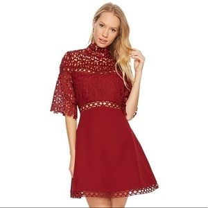 Keepsake The Label Uplifted Mini Dress Red Lace